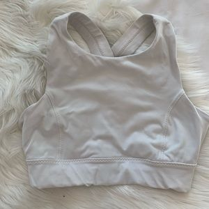 Athleta high neck white sports bra